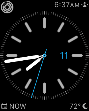 Current Watch face. Four complications: activity rings, sunset, Fantastical, Carrot Weather.